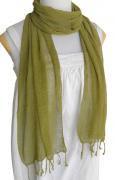 ロウシルク 無地 スカーフ(カーキ)[肌に優しいナチュラルシルク、日差し除けや紫外線対策、襟元防寒にお役立ち]