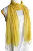 ロウシルク 無地 スカーフ(黄色)[肌に優しいナチュラルシルク、日差し除けや紫外線対策、襟元防寒にお役立ち]