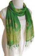 ロウシルク スカーフ タイダイ(B)[肌に優しいナチュラルシルク、日差し除けや紫外線対策、襟元防寒にお役立ち]