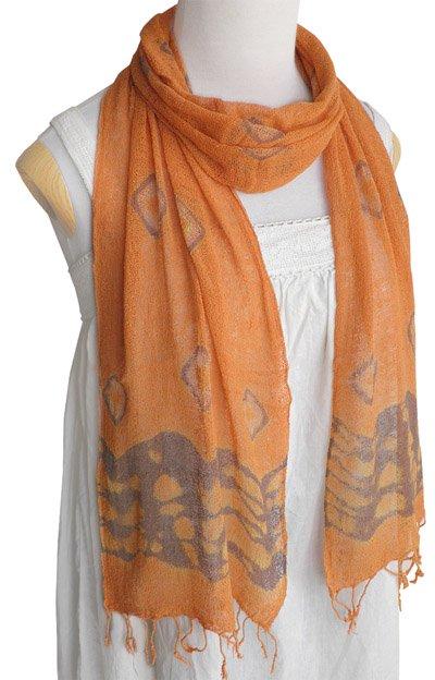 ロウシルク スカーフ タイダイ(C)[肌に優しいナチュラルシルク、日差し除けや紫外線対策、襟元防寒にお役立ち]