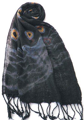 ロウシルク スカーフ タイダイ(J)[肌に優しいナチュラルシルク、日差し除けや紫外線対策、襟元防寒にお役立ち]