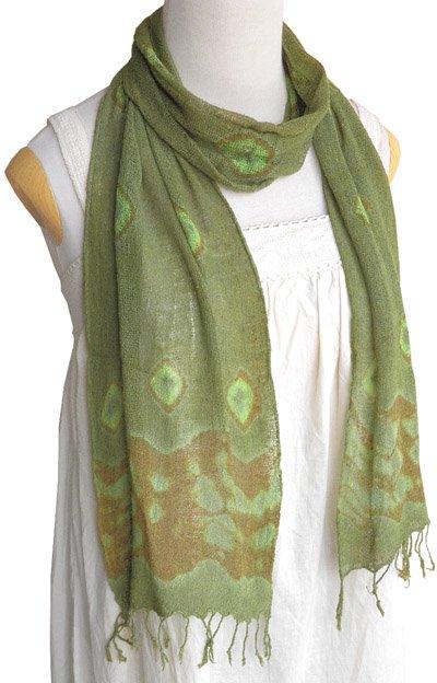 ロウシルク スカーフ タイダイ(D)[肌に優しいナチュラルシルク、日差し除けや紫外線対策、襟元防寒にお役立ち]