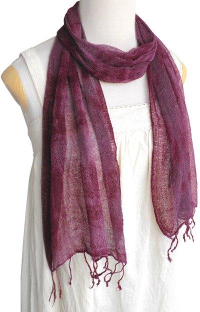 ロウシルク スカーフ むら染め(D)[肌に優しいナチュラルシルク、日差し除けや紫外線対策、襟元防寒にお役立ち]