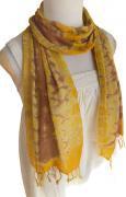 ロウシルク スカーフ むら染め(F)[肌に優しいナチュラルシルク、日差し除けや紫外線対策、襟元防寒にお役立ち]