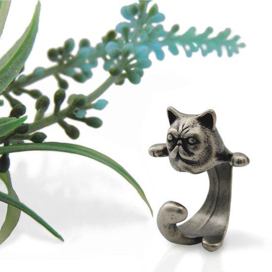 猫 リング 指輪 キャット ブサカワ猫(アンティークシルバー)フリーサイズ(9号〜15号)