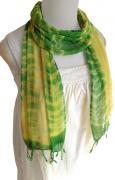 ロウシルク スカーフ むら染め(H)[肌に優しいナチュラルシルク、日差し除けや紫外線対策、襟元防寒にお役立ち]