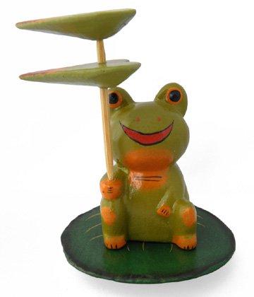 木彫り 蛙  蓮の葉ガエル[南国気分でのんびりゆったり★ユーモラスで可愛いインテリアアイテムです]