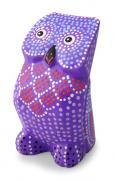 木彫り カラフルふくろう(紫)[風水ラッキーモチーフクラスアップを促す紫で運気上昇、出世運アップ]