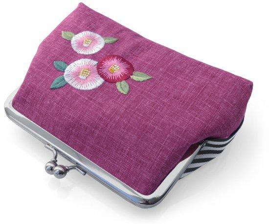 ポーチ がま口ポーチ 口金ポーチ 日本製 かわいい 刺繍入り(紅紫 椿) 和風 レディース 小銭入れ 財布 小物入れ ギフト
