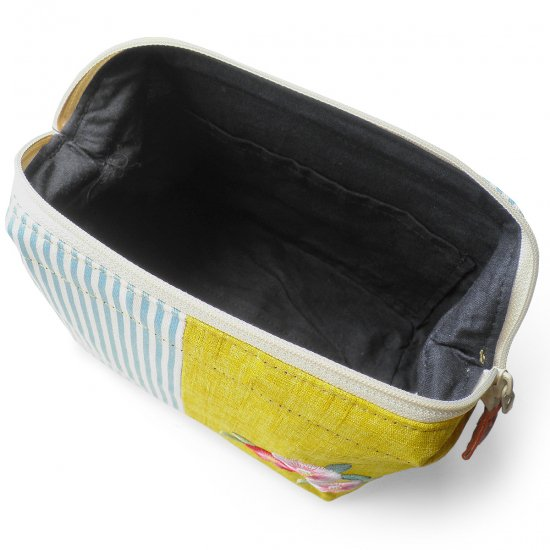 ポーチ 化粧ポーチ 口金ポーチ ワイヤーポーチ 日本製 かわいい 刺繍入り(淡黄 椿) 和風 レディース 小物入れ 大きめサイズ ギフト