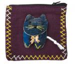 アップリケ猫ファスナーポーチ(大/濃紫系)[薬やアクセサリー、アイケアグッズの収納、小銭入れに]