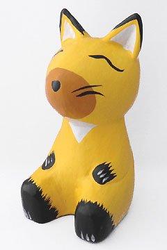 木彫り足投げ出しキツネ 【金運や財運を呼ぶ黄色の狐★ちょっぴり大きめサイズで存在感と愛らしさ倍増!】