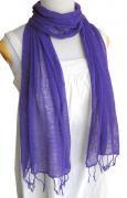 ロウシルク 無地 スカーフ(紫)[肌に優しいナチュラルシルク、日差し除けや紫外線対策、襟元防寒にお役立ち]