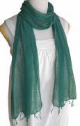 ロウシルク 無地 スカーフ(深緑)[肌に優しいナチュラルシルク、日差し除けや紫外線対策、襟元防寒にお役立ち]