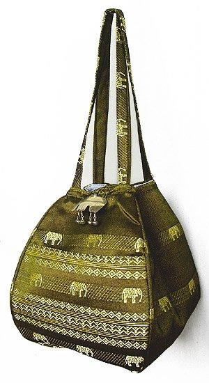 金糸織りゾウさんバッグ(カーキ) 【近所へのお買い物やランチバッグに、何かと便利なバルーンバッグ】