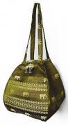 金糸織りゾウさんバッグ(カーキ)[近所へのお買い物やランチバッグに、何かと便利なバルーンバッグ]