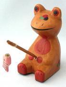 木彫り 釣りガエル