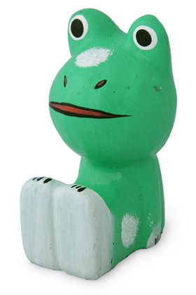 木彫り 蛙  足投げ出しカエル[キュートなポーズが可愛い癒し系★安定が良く、あちこちに座らせて置けます]