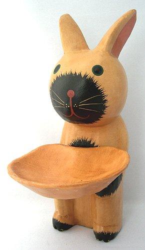 木彫りトレー持ちウサギ(B)