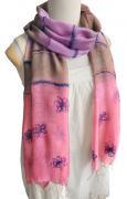 花刺繍グラデーション染め ストール(ピンク&パープル系)[柔らかな質感と小花柄の癒し系 180×50cm]