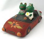 木彫り 蛙  ハネムーンカエル(B)