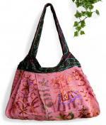 インド綿刺繍肩掛けバッグ(ピンク系)[ハンドメイドの温もり一杯入荷ごとに完売御礼の大人気商品]