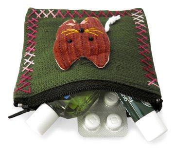 ポーチ アップリケ 猫(大/茶系)[薬やアクセサリー、アイケアグッズの収納、小物入れや小銭入れに]