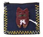 アップリケ猫ファスナーポーチ(大/ネイビー系)[常備薬やアクセサリー、アイケアグッズの収納、小銭入れに]