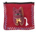 アップリケ猫ファスナーポーチ(大/赤系)[薬やアクセサリー、アイケアグッズの収納、小物入れや小銭入れに]