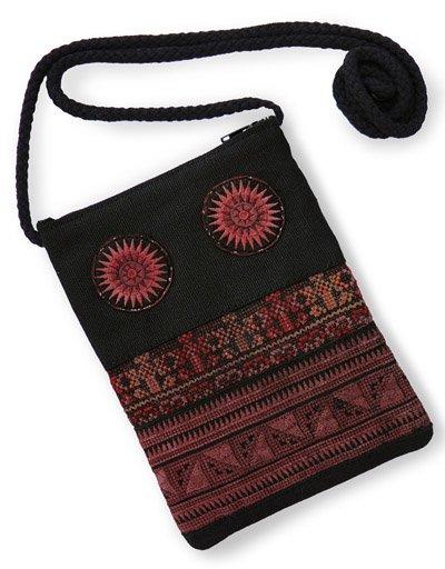 モン族刺繍ショルダーポーチ(大サイズ/C)[スマートフォンやサングラス、貴重品の収納にお薦め]
