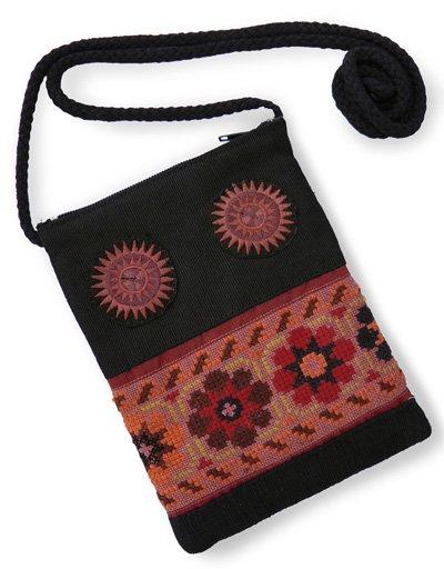 モン族刺繍ショルダーポーチ(大サイズ/D)[スマートフォンやサングラス、貴重品の収納にお薦め]