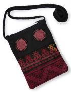モン族刺繍ショルダーポーチ(大サイズ/F)[スマートフォンやサングラス、貴重品の収納にお薦め]