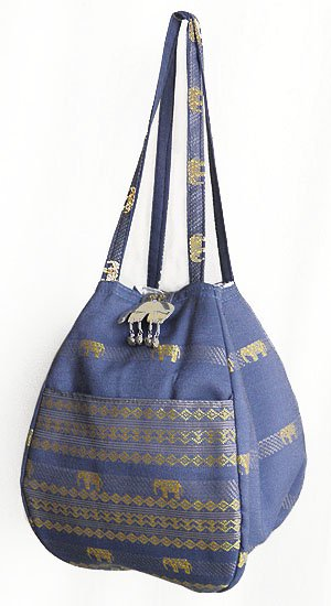 金糸織りゾウさんバッグ(ブルーグレー)