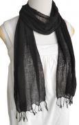 ロウシルク 無地 スカーフ(黒)[肌に優しいナチュラルシルク、日差し除けや紫外線対策、襟元防寒にお役立ち]