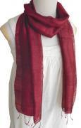 手紡ぎ シルク スカーフ 単色(ワイン)[肌に優しい天然素材、使い回せるロングタイプ165cm]