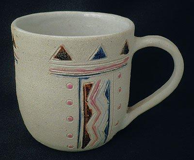 ビッグマグカップ(B)[ぽったり厚手のハンドメイドの器、素朴で温かみのあるインドの焼き物です]