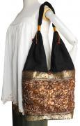 花モチーフシルクバッグ(ブラウン)[キラキラ可愛いバッグはサイズ大きめ、沢山入って実用的]