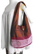 コード刺繍シルクバッグ(ブラウン)[異素材を組み合わせた手作りバッグ、サイズ大きめで実用的]