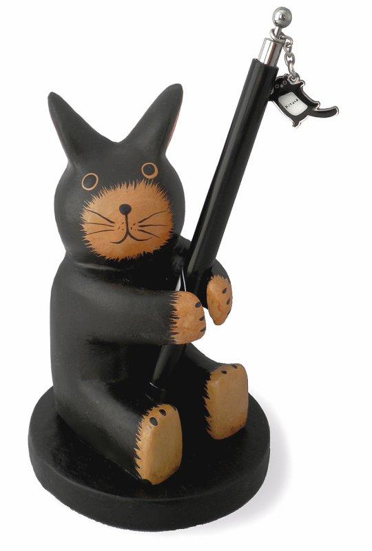 木彫りペン立てうさぎ 【筆記用具を捧げ持つ健気なウサギさんは、勉強部屋やオフィスの癒し系アイドル!】