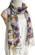 シルクコットンフラワー柄 ロングスカーフ(パープル系)[上質素材、大きめの花柄が印象的 160×37cm]