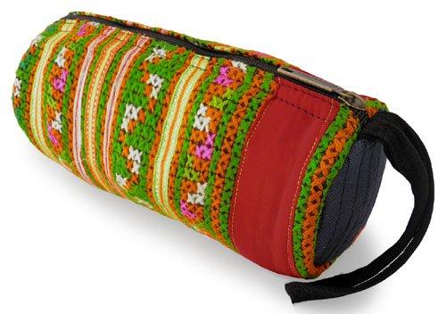 モン族筒型ポーチ(C)[大きめで用途いろいろ持ち手付き、ちょっとした外出時のお出掛けポーチにも]