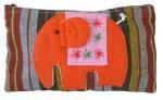 アップリケゾウさん長方形ポーチ(オレンジ系)[織り柄生地に大胆な意匠サイズ大きめの実力派]