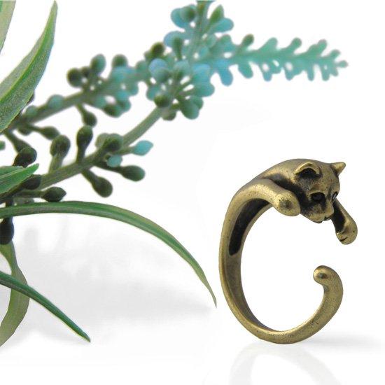 猫 リング 指輪 キャット 抱きつき猫(アンティークゴールド)フリーサイズ(8号〜14号)