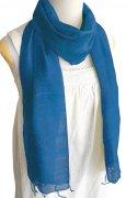 手紡ぎ シルク スカーフ 単色(ブルー)[肌に優しい天然素材、使い回せるロングタイプ165cm]