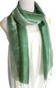 手紡ぎ シルク グラデーション スカーフ(青磁色系)[肌に優しい天然素材、使い回せるロング165cm]