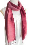 手紡ぎ シルク グラデーション スカーフ(ボルドー系)[肌に優しい天然素材、使い回せる165cm]