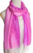 手紡ぎ シルク グラデーション 大判 ストール(ピンク系)[使い回せる大きめサイズ 165×65cm]