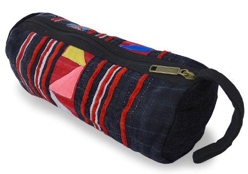 モン族筒型ポーチ(G)[大きめで用途いろいろ持ち手付き、ちょっとした外出時のお出掛けポーチにも]