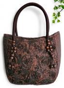 シルクリボン刺繍トートバッグ(茶)[ワンピースやガーリッシュファッションにも似合う大きめバッグ]