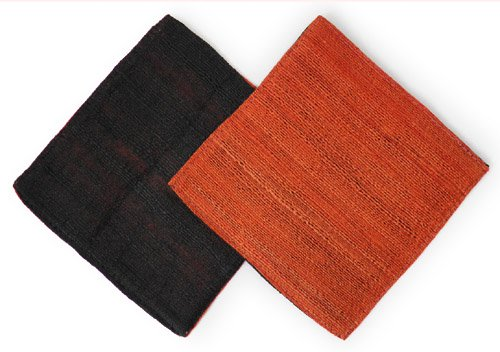 山繭シルクコースター同色2枚セット(赤銅色&黒)[両表リバーシブルタイプ★丁寧な仕上げの上質品]
